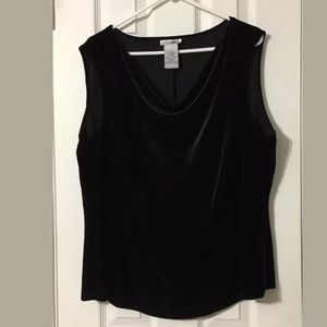 Black velvet drape neck sleeveless top 3X